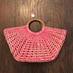 The Sak Pink Tan Wicker Woven Tote Beach Bag